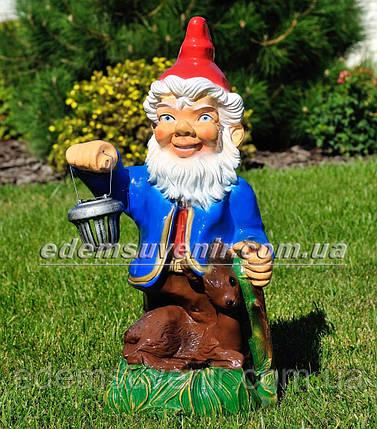 Садовая фигура Гном с оленем и фонарем, фото 2