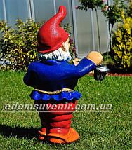 Садовая фигура Гном толстяк с фонарем, фото 3