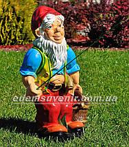 Садовая фигура Гном рыболов, фото 3