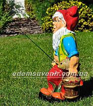 Садовая фигура Гном рыболов, фото 2