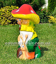 Садовая фигура Гном с грибом, фото 2