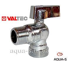 """Кран кутовий хром Valtec DN 1/2""""x1/2"""" для підключення сантехприборів (VT.392) Італія"""