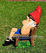 Садовая фигура Гном на отдыхе, фото 2