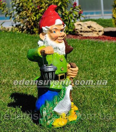 Садова фігура Гном з качкою біля ліхтаря, фото 2