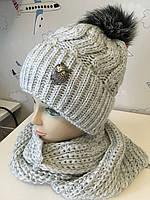 В'язаний комплект на флісі (шапка + хомут) фабричний , зимовий