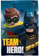 Детский флисовый плед покрывало LEGO Бэтмен и Робин 100х150 см для мальчика