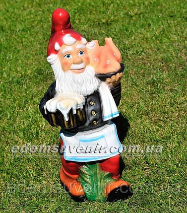 Садовая фигура Гном официант, фото 2