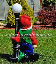 Садовая фигура Гном у фонаря от сети, фото 3