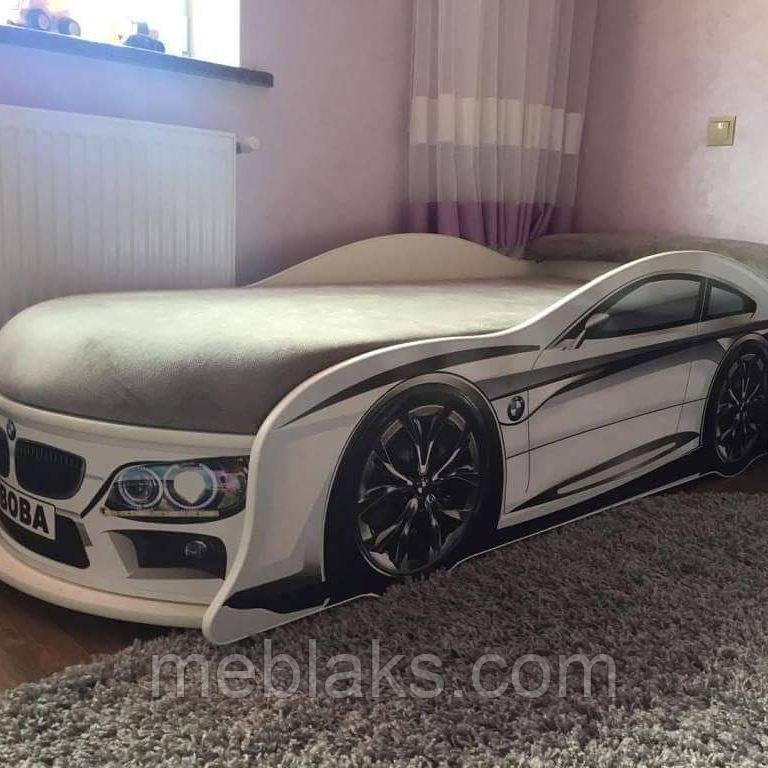 Кровать машина БМВ Белая Mebelkon