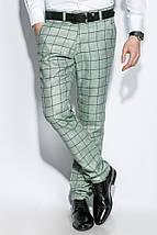 Брюки мужские стильная клетка 410F001 (Оливковый), фото 3