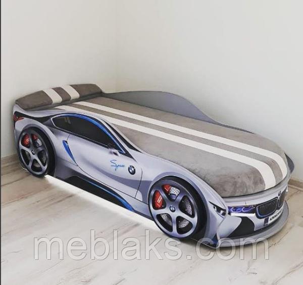 Кроватка машина БМВ space серая Mebelkon