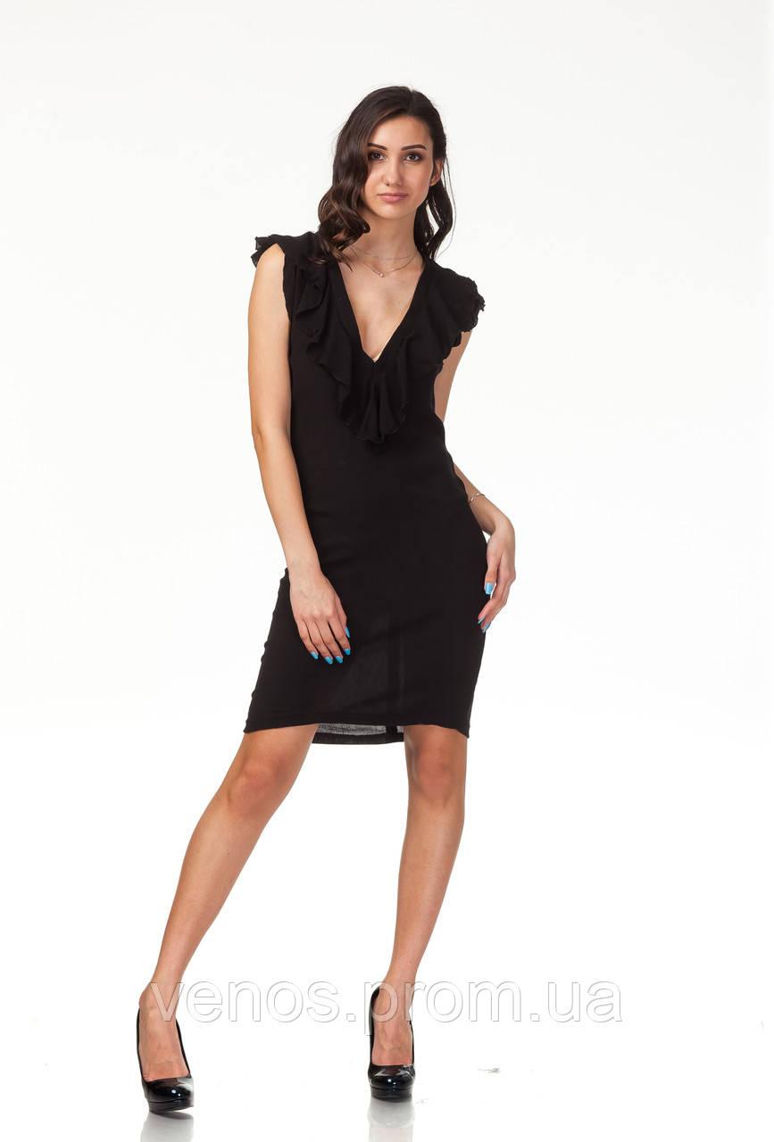 Летнее женское платье с глубоким вырезом. П108_жатка черная