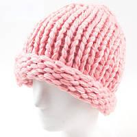 Женская зимняя шапка крупной вязки розовая опт, фото 1