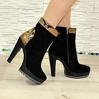 Ботинки женские классические на высоком каблуке, натуральный черный замш и питон. 36 размер