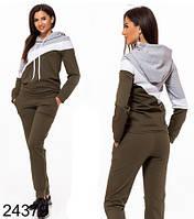 757ddbf42cb480 Женский спортивный костюм с капюшоном трикотаж двунитка хаки р 42 по 50