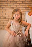 Шикарное детское выпускное платье для девочки Silk Road на утренник Новый Год 00046-1 122-128 см бежевое