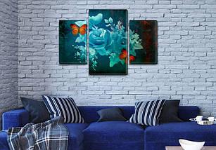 Модульная  картина Ночная роза на Холсте, 80х120 см, (55x35-2/80x45), фото 3