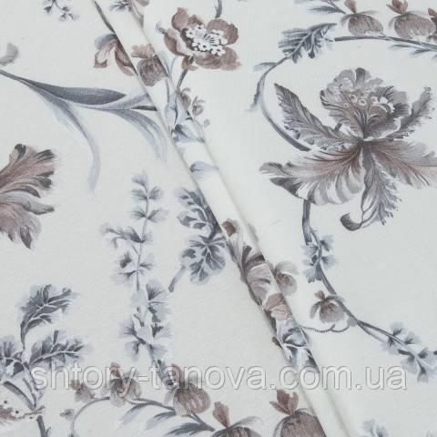 Декоративная ткань, цветы серый