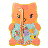 Деревянная игрушка Рыбалка Кошка 29 см магниная, дерев'яна рибалка лягушка жабка жабення кошка MD 1034, 003679, фото 1