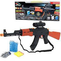 Детский автомат стреляет водяными пульками или мягкими с присосками 5 шт (в комплекте) подарок для мальчика