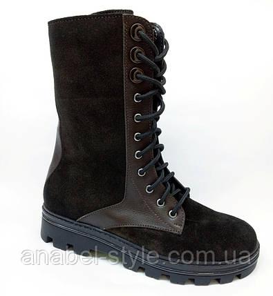 Берцы-ботинки женские из натуральной замши коричневого цвета шнуровка до верха весна-осень Код 1802-AR, фото 2