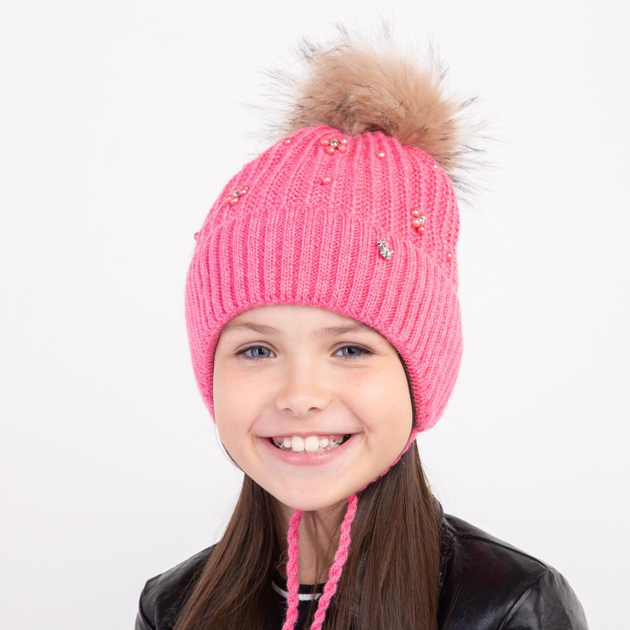 Шапка с меховым помпоном для девочек оптом - Артикул 2335