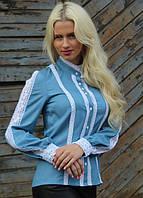 Нарядная батистовая блуза с белым кружевом