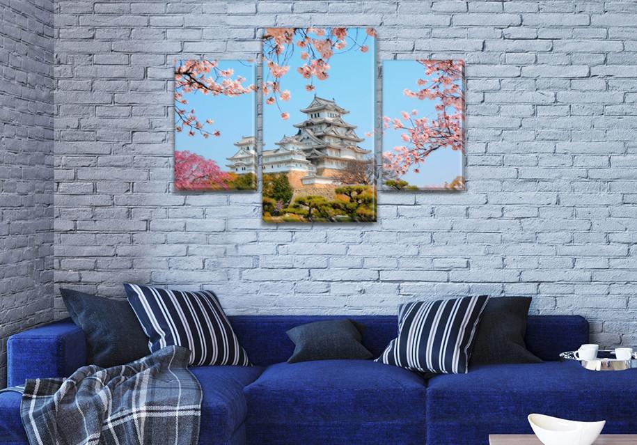 Модульная  картина Замок в Осаке  в спальню на Холсте, 80х120 см, (55x35-2/80x45)