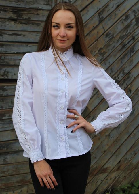 Белая батистовая блуза с красивым кружевом под старинку