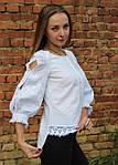 Оригинальная вышитая блуза из льна с белой вышивкой, фото 2