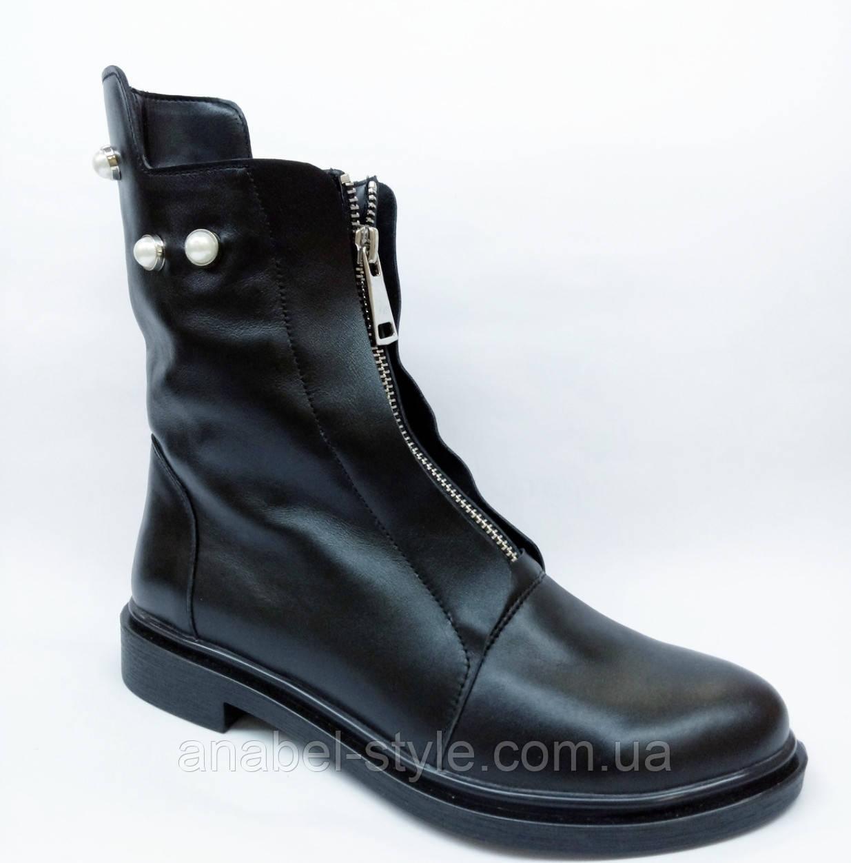 Ботинки осенне-весенние из натуральной кожи черного цвета спереди молния код 1805 AR