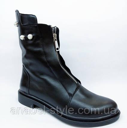 Ботинки осенне-весенние из натуральной кожи черного цвета спереди молния код 1805 AR, фото 2