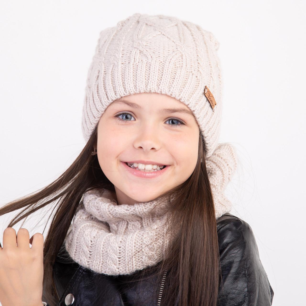 Однотонный зимний комплект для девочки оптом - Артикул 2350