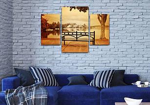 Модульная картина Скамейка в парке у реки  на Холсте, 80х120 см, (55x35-2/80x45), фото 3