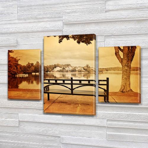 Модульная картина Скамейка в парке у реки  на Холсте, 80х120 см, (55x35-2/80x45)