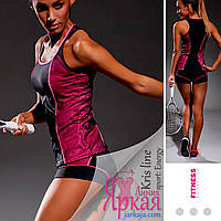 Майка женская спортивная Kris Line™. Борцовка для фитнеса и йоги розовый/черный. Одежда для спорта Польша