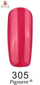 Гель-лак F.O.X. 6 мл Pigment 305 розово красный с микро блеском, эмаль