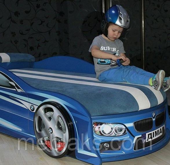 Кровать машина БМВ синяя Mebelkon