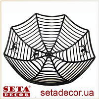 Корзина Паутина декор черная пластик для сладостей на хэллоуин