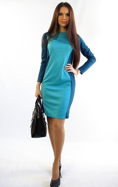 Офисное комбинированное женское платье