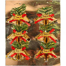 Набор-украшение «Колокольчик» с бантиком 12 /6 шт золотой метал ААА7098