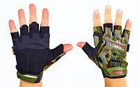 Перчатки тактические с открытыми пальцами MECHANIX MPACT (р-р L-XL, камуфляж Woodland)