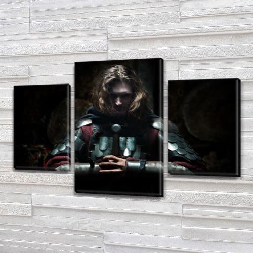Картина модульная Рыцарь на Холсте, 80х120 см, (55x35-2/80x45)