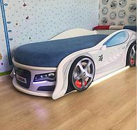 Кровать машина Ауди белая 70*150 с ПМ Mebelkon