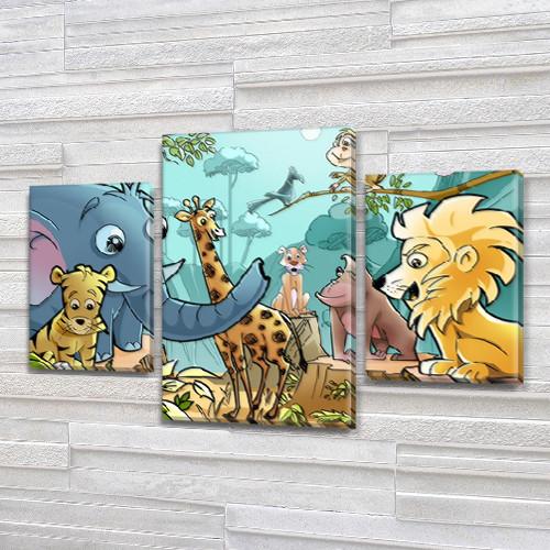Модульная картина Африканские звери 80х120 см, (55x35-2/80x45)