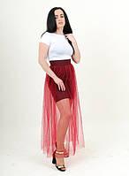 Молодежная юбка в цвете марсала с фатином