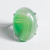 Агат зеленый, 25*18 мм., серебро 925, кольцо, 946КА