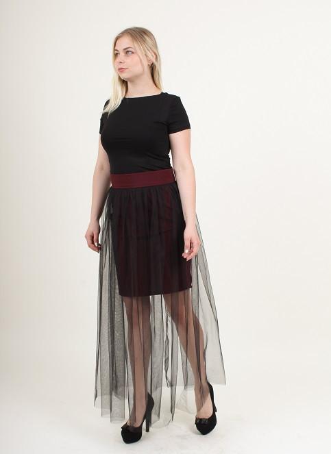 Женская юбка бордовая  с черным фатином