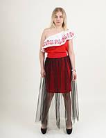 Молодежная праздничная юбка красная с черным фатином