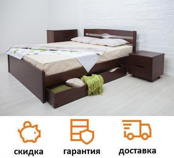 Кровать деревянная с ящиками Лика Люкс фабрика Олимп